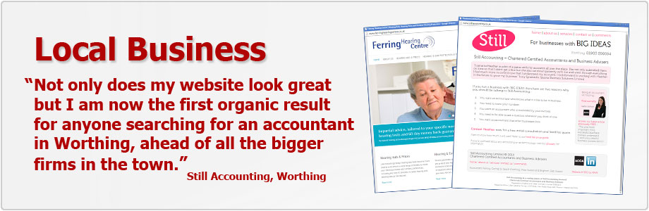 Websites and SEO for local business in Worthing, West Sussex